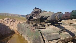 טנק סברה שניפגע מטיל
