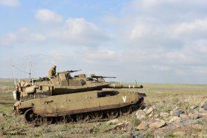 """טנק מ""""פ ו' """"וולקן"""" במהלך התרגיל הגדודי."""