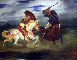 דו-קרב בין אבירים המצוידים בשריון לוחות. ציור מאת אז'ן דלקרואה. האבירים היו מעמד של פרשים-לוחמים-אצילים באירופה של ימי הביניים