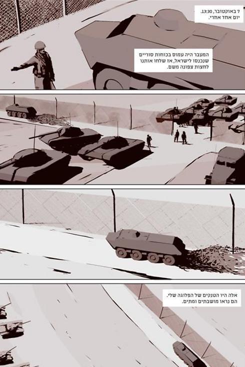 7 באוקטובר, 13:30. יום אחד אחרי. המעבר ההי עמוס בכוחות סוריים שנכנסו לישראל, אז שלחו אותנו לחצות צפונה משם. אלה היו הטנקים של הפלוגה שלי. הם נראו מושבתים ומתים