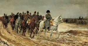נפוליאון בראש צבאו במהלך החורף הרוסי