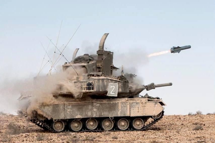 """משגר חימוש מונחה מדוייק """"פרא"""" ע""""ג טנק מגח 5. צילום: זרוע היבשה"""