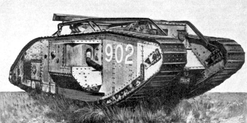 """טנק סימן 5 """"זכר"""" המצוייד בתותח במבנה בכול אחד מצדדיו."""